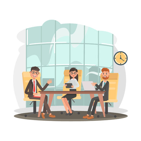 Business people at the negotiating table color flat illustration