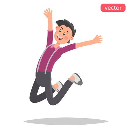 Happy young man jumping color flat illustration