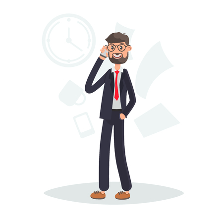 Businessman talking on the phone color flat illutration