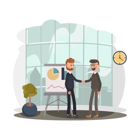 Two businessmen shake hands color flat illustration