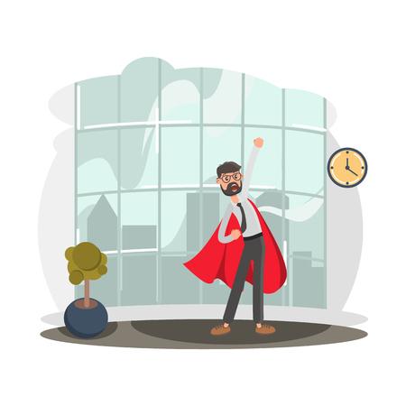 Super Office Worker color flat illustration