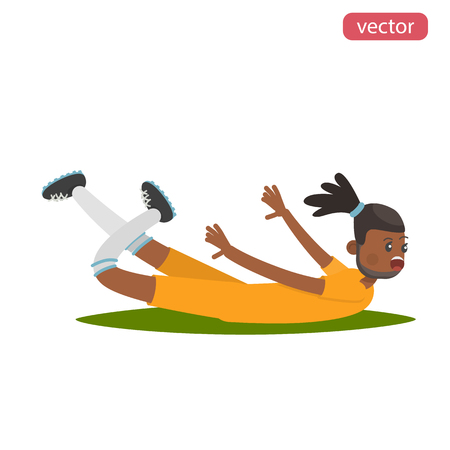 Happy footballer glides on his stomach color flat illustration Illustration