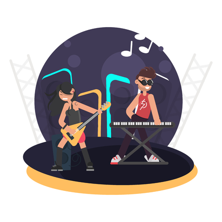 Duet of musicians for bass guitar and synthesizer on stage color flat illustration