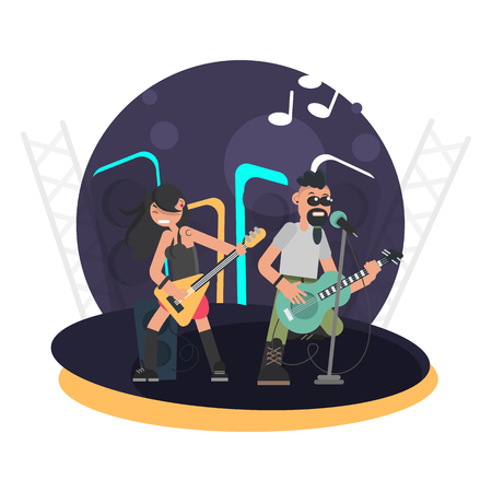Duet of musicians with bass guitar and lead singer with a guitar on stage color flat illustration