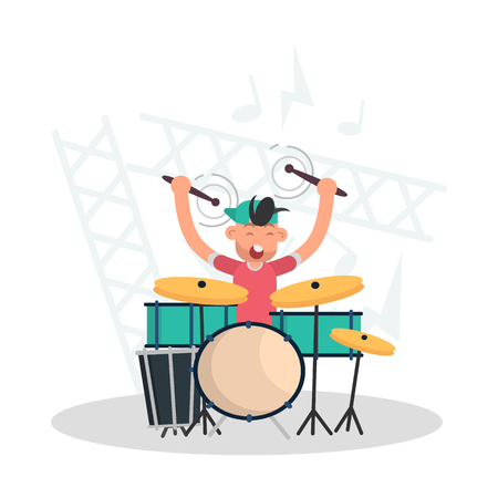 Musician behind the drum set color flat illustration  イラスト・ベクター素材