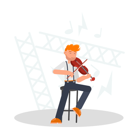 Musician playing the violin color flat illustration