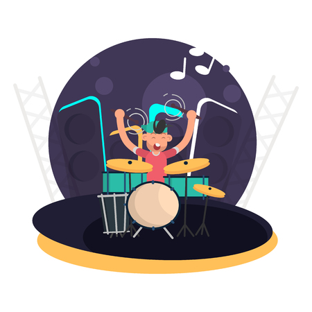 The musician behind the drum set on stage color flat icon