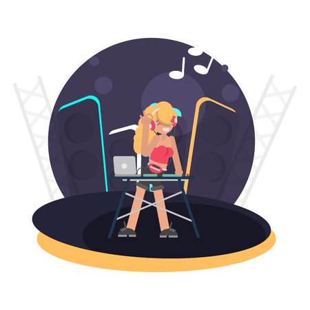 Cool DJ girl behind the console on stage color flat illustration  イラスト・ベクター素材