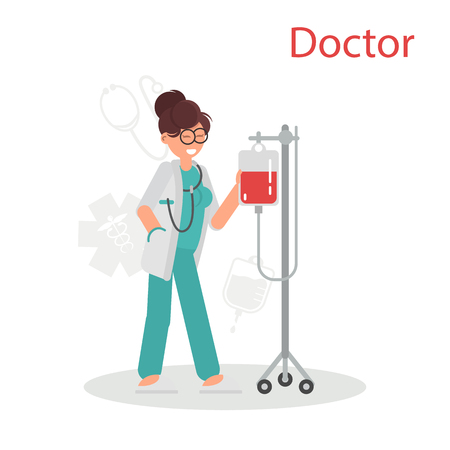 Doctor in the uniform prepares dropper color flat icon Ilustração