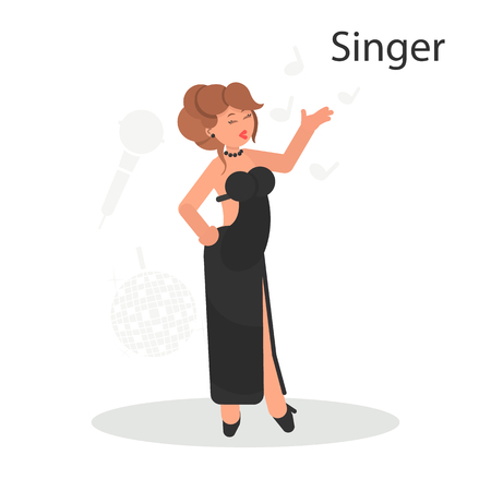 Singer gives a concert color flat icon