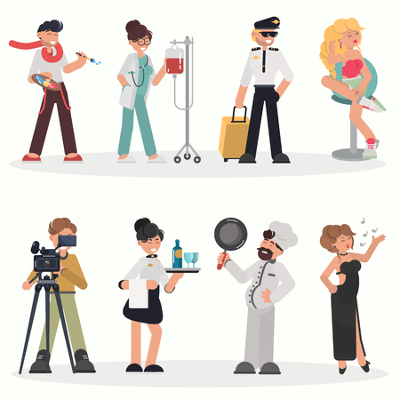 People of different professions color flat illustration set