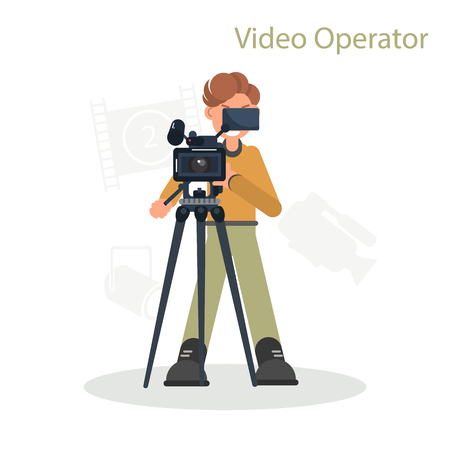 Video operator shoots on camera color flat illustration