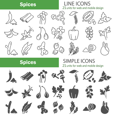 Different spices line and simple icons set