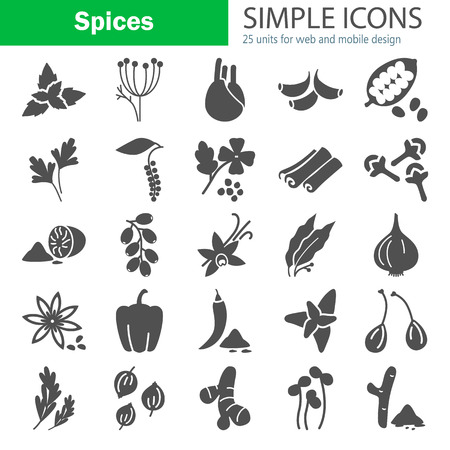 Different spices simple icons set