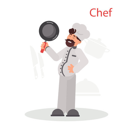 Chief in uniform and frying pan in his hand color flat illustration