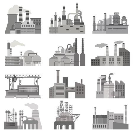 Flache Illustration verschiedener Fabriken in Schwarzweiss-Farben