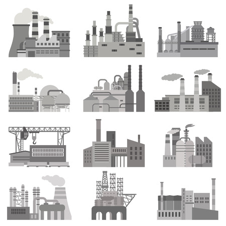 Different factories flat illustration set in black and white colors Illustration