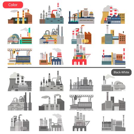 Illustrazione piana di diverse fabbriche impostata nel concetto di colore e bianco e nero