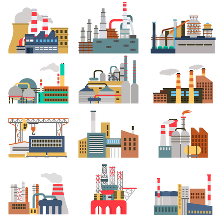 Different factories color flat illustrations set