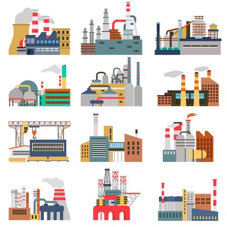 Conjunto de ilustraciones planas a color de diferentes fábricas.