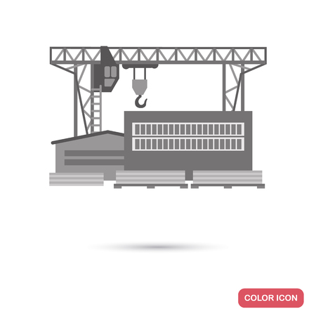Woodworking factory flat illustration in black and white colors