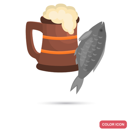 Salted fish and beer color flat icon
