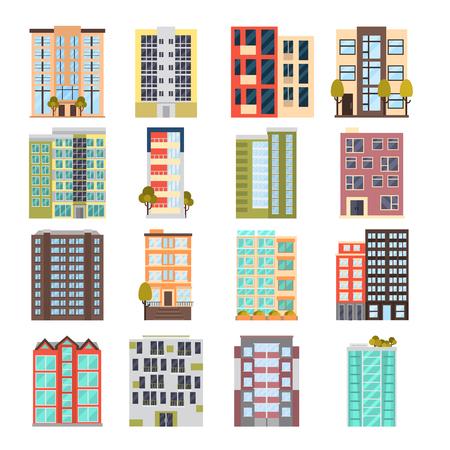 Modern multi apartment house color flat icon set