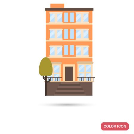 Modern multi apartment house color flat icon