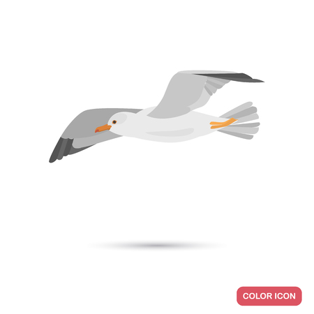 Flying seagull color flat icon Çizim