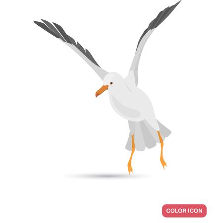 Flying seagull color flat icon Zdjęcie Seryjne - 114863523