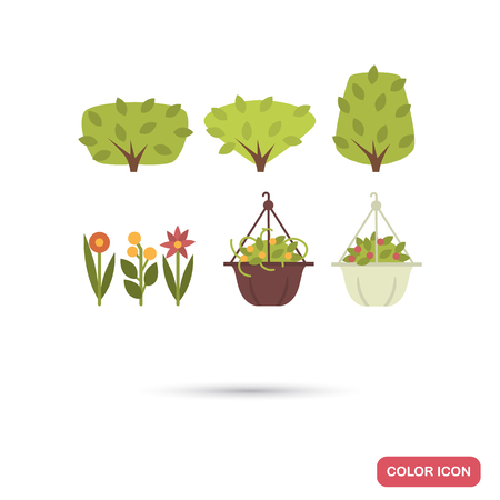 Set of bushes, flowers color flat icons