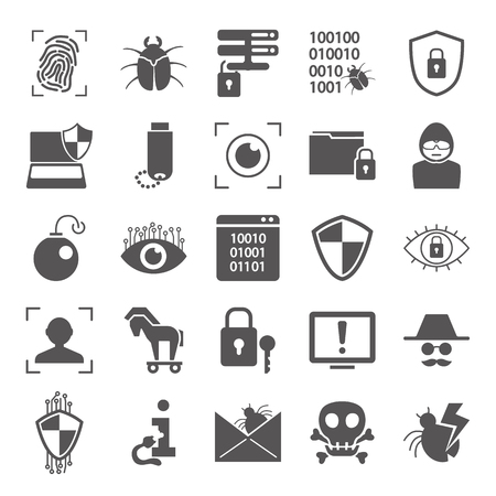 Cybersecurity simple icons set for web and mobile design Illustration