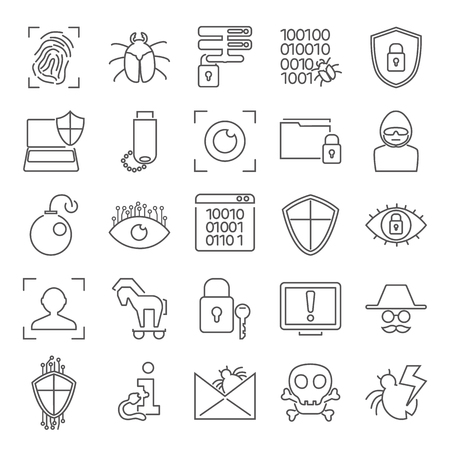 Cybersecurity line icons set for web and mobile design