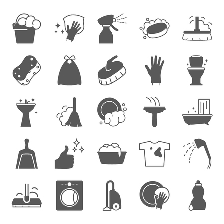 Cleaning simple icons set for web and mobile design Illustration