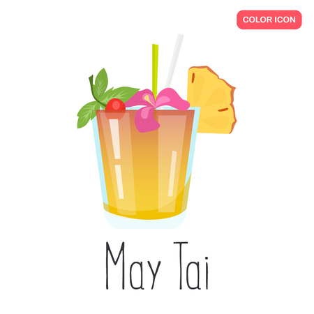 Mai Tai alcohol cocktail color flat icon Illustration