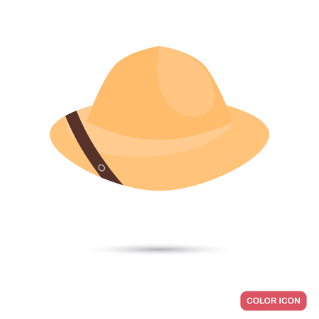 Safari hat color flat icon 矢量图像