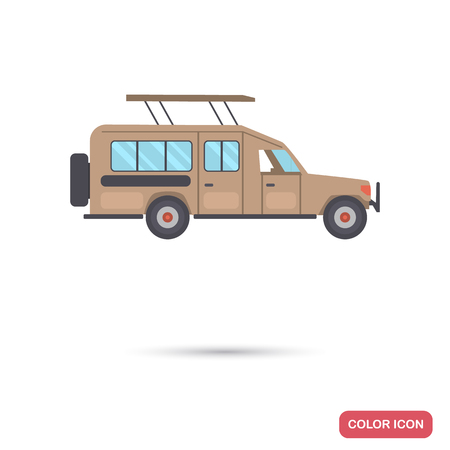 Safari car color flat icon  イラスト・ベクター素材