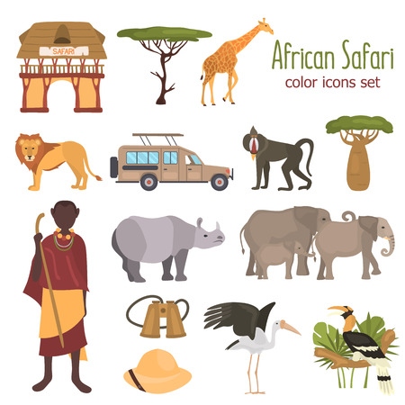 African safari color flat icons set  イラスト・ベクター素材