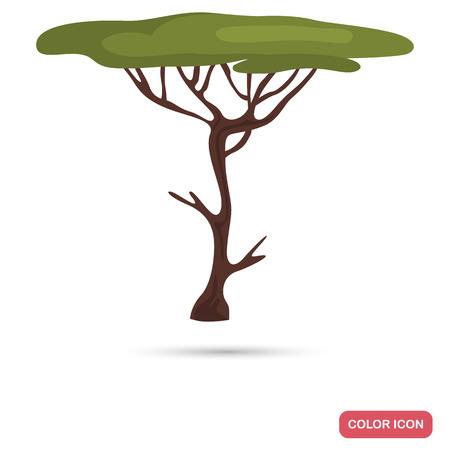 Tree symbol of Africa acacia color flat icon Illustration