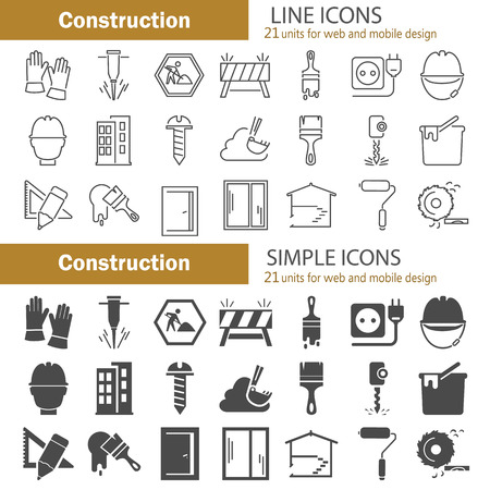 Construction line and simple icons set for web and mobile design Illustration