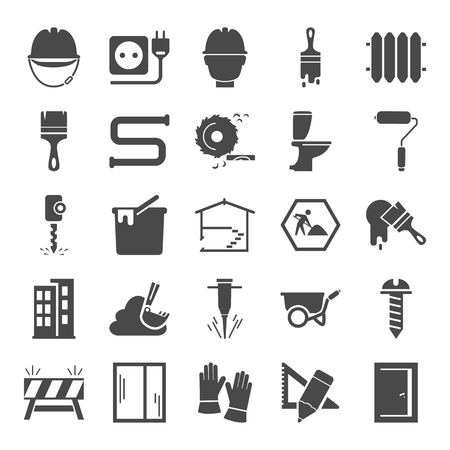 Construction simple icons set for web and mobile design Vetores