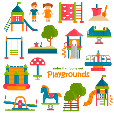 Playground color flat icons set for web and mobile design