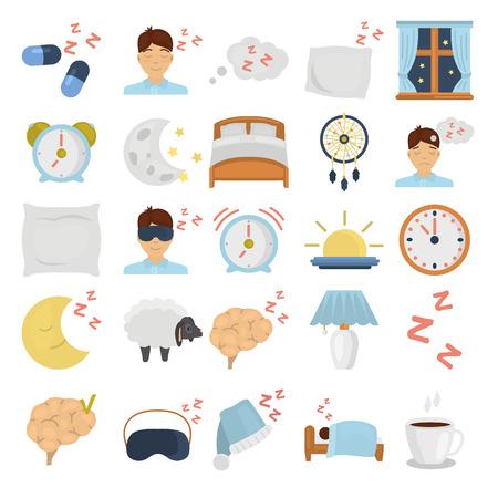 Conjunto de iconos planos de colores para dormir Ilustración de vector