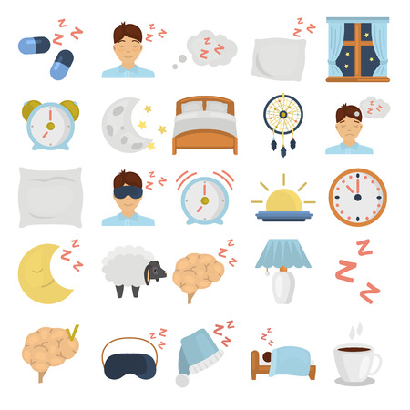 Sleeping color flat icons set