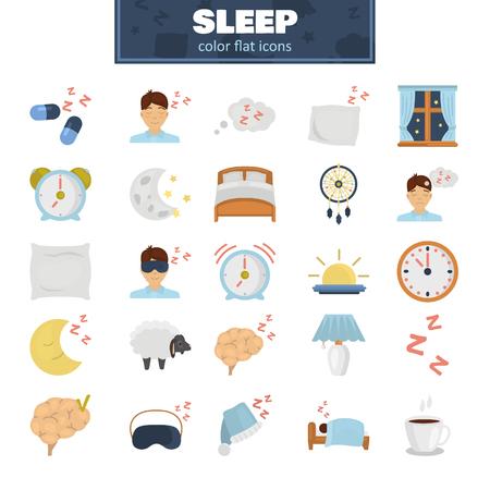 Conjunto de iconos planos de colores para dormir
