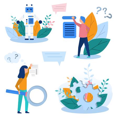 Concept illustrations production robotization, technical revolution, scientific progress, programming, online settings, training, artificial intelligence. Color flat vector design set Vector Illustration