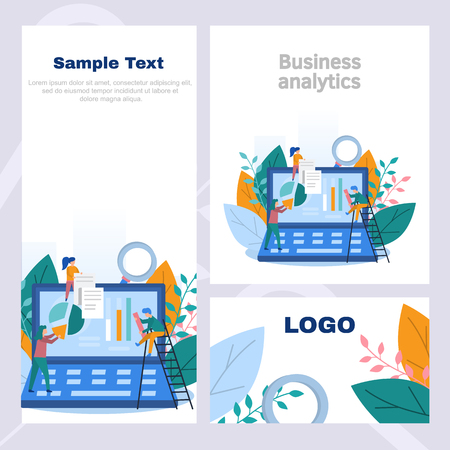 Concept corporate style flyer in business analytics, information gathering, data analysis, graphs and charts, team game, market research, online research. Color flat vector design  イラスト・ベクター素材