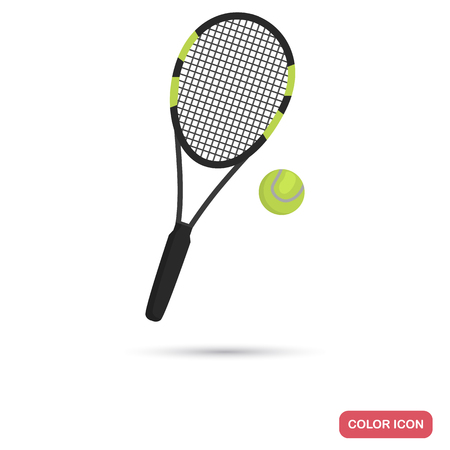 Big tennis racket and ball color flat icon for web and mobile design