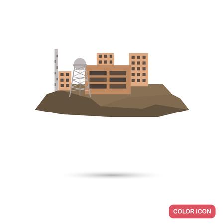 Alcatraz prison color flat icon for web and mobile design Illustration