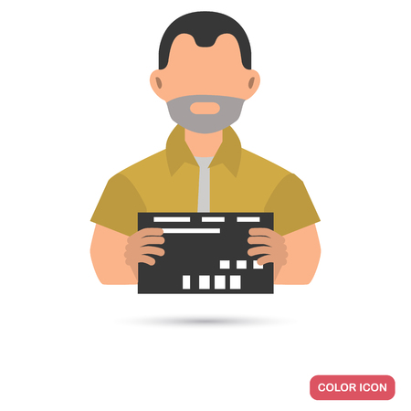 Arrested man color flat icon for web and mobile design